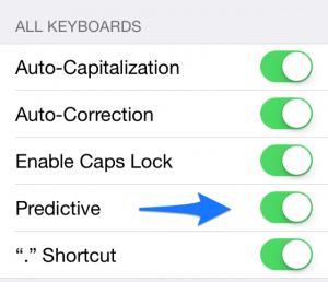 Press the toggle switch to turn Predictive Text on or off